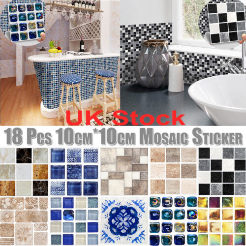 Home Decoration - Wall Sticker Tile Brick Self-adhesive Mosaic Kitchen Bathroom Home Art Decor UK