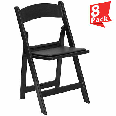 8 Black Resin Folding Chair Vinyl Padded Seat 300 Lb Capacity Event Party Chairs