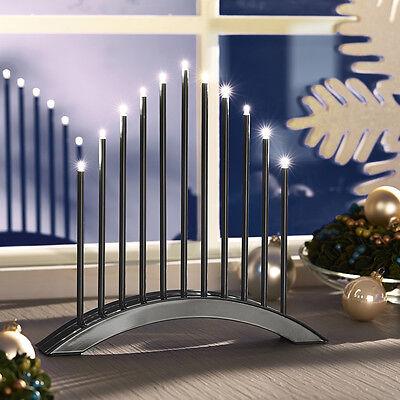 LED Stimmungsleuchte Adventsleuchter Metall Fenster Tischleuchter Grau SL30-1
