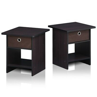 Furinno End Table & Night Stand Storage Shelf with Drawer Dark Walnut, Set of 2