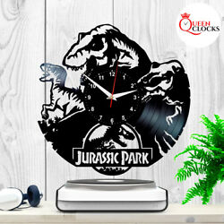 Jurassic Park Logo Dinosaurs Vinyl Record Wall Clock Art Home Decor Kids Gift