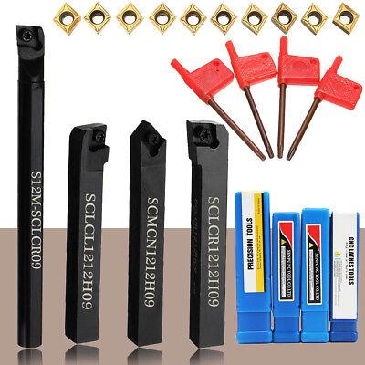 4x Lathe Boring Turning Tool Bar Holder + 10x Carbide Inserts Blades + 4x Wrench
