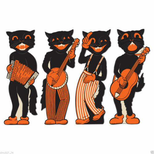 BLIND CAT RESCUE 4 PC SCAT CAT MUSICIANS DIXIELAND JAZZ BAND PARTY DECORATIONS