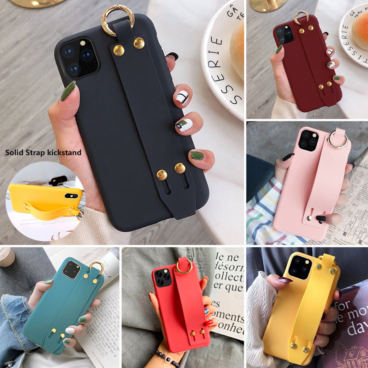 For iPhone 11 Pro MAX Soft Silicone Slim Hand Strap Holder C