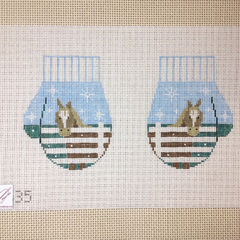 Kathy Schenkel Pony Horse mittens hand painted Needlepoint Canvas ornaments