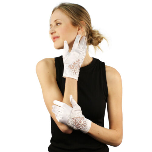 Bridal Floral Embroidery Pearls Satin Stretchy Wrist Dress Formal Gloves