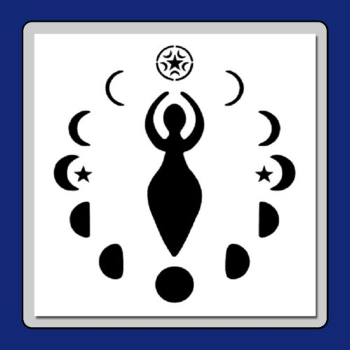 9 X 9 Wiccan Goddess STENCIL with Moon Phases and Stars Wicca/Pagan/Nature