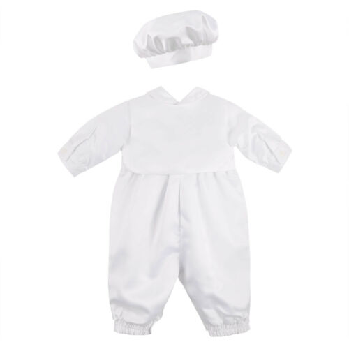 new Boy WHITE  baptism christening pants vest long sleeves set w hat z:3 months