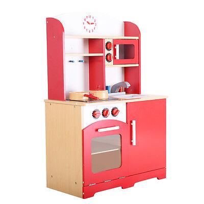 Goplus Wood Kitchen Toy Kids Cooking Pretend Play Set Toddler Wooden Playset New