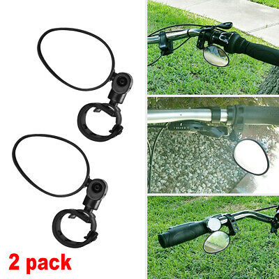 Two Black Rectangle Rear View Bicycle Mirrors Cruiser Lowrider White Reflector