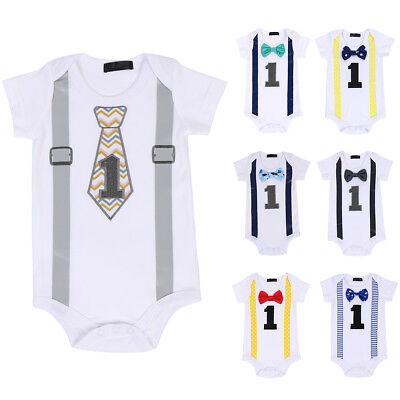 Cake Smash Outfit Baby Boys 1st Birthday Party Romper Clothes Gentleman Bowtie - First Birthday Boys