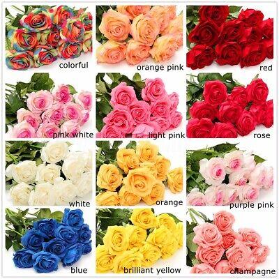 20 Head Real Latex Touch Rose Flower Wedding Home Design Bouquet Valentine