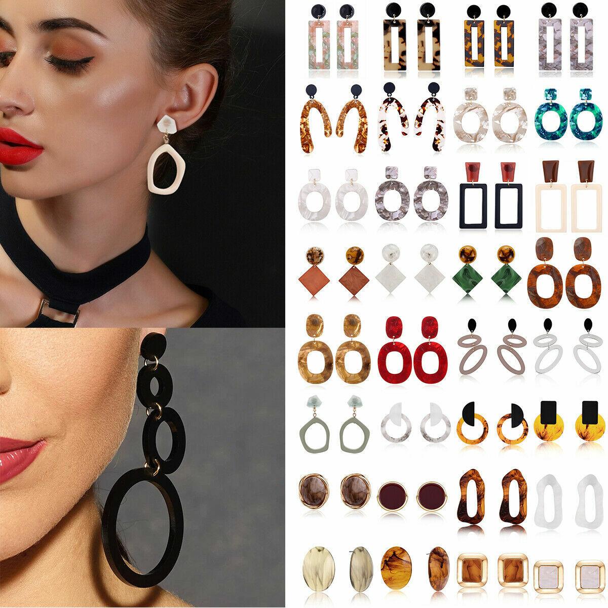 Jewellery - Women Boho Geometric Dangle Drop Hook Acrylic Resin Ear Stud Earrings Jewelry