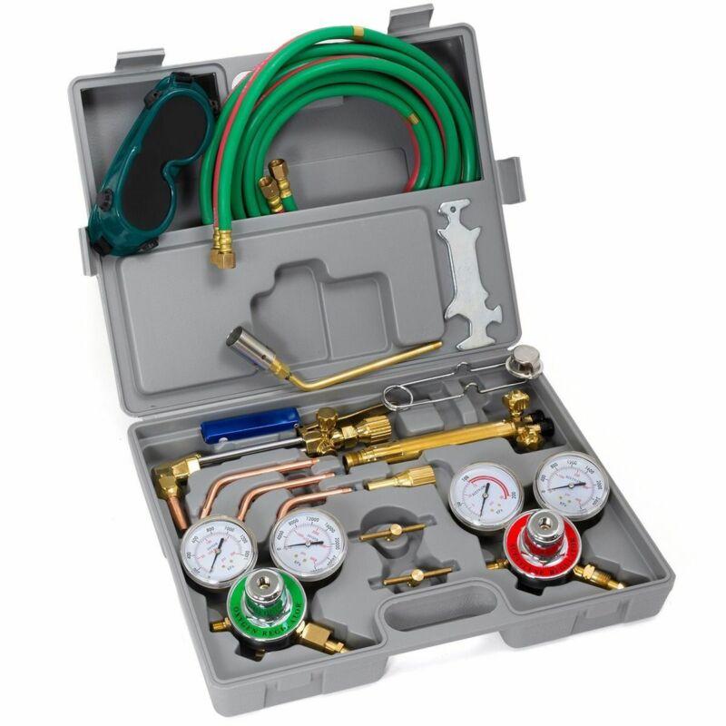 Oxygen Acetylene Welding Cutting Torch Kit Harris Type W/ Goggles Tips Burner HD