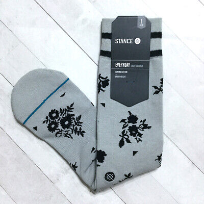 Stance Floral Socks Mens Crew Large 9-12 Booths Grey Arch Support Pima Cotton Arch Support Casual Crew Socks