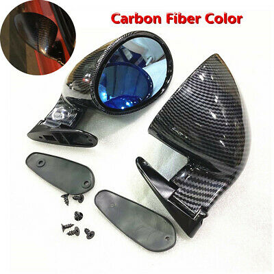 2X Car Carbon Fiber Color Blue Rear View Mirror F1 Style Side Wing Plane Mirrors