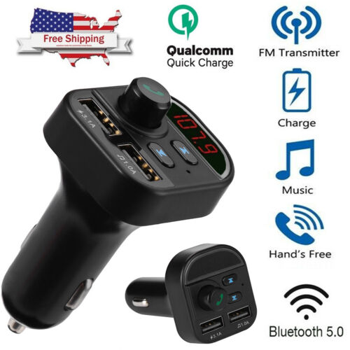 Wireless Bluetooth In-Car FM Transmitter MP3 Radio Adapter Car Kit 2 USB Charger