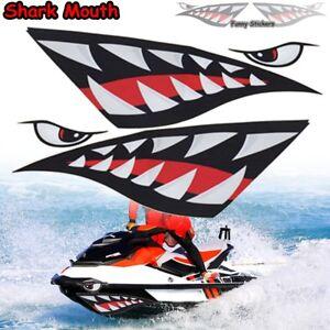 2x Car Boat Kayak Shark Teeth Mouth Eyes Vinyl Decal Funny Stickers Waterproof