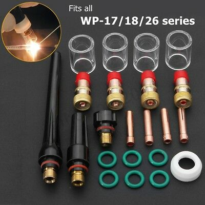 22pcs Tig Welding Torch Stubby Gas Lens 10 Pyrex Glass Cup Kit For Wp-171826