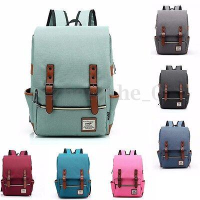 Us Women Mens Canvas Backpack School Laptop Travel Rucksack Satchel Shoulder Bag