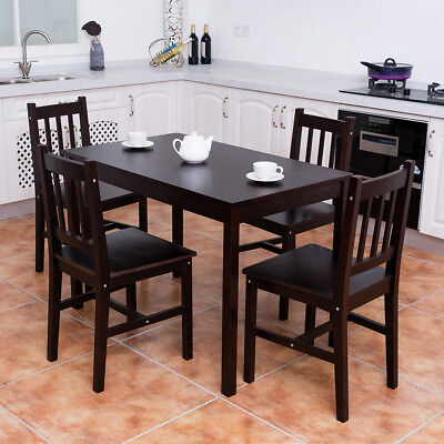 5 In harmony Wood Dining Table Set 4 Chairs Home Kitchen Breakfast Furniture Brown