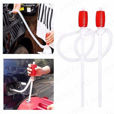 2x HAND HELD SYPHON PUMP Manual Petrol/Diesel Oil/Water Liquid Extractor Tube