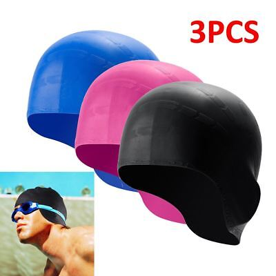 b229d0eb97452 3PCS Men Women Silicone 3D Seamless Swimming Cap With Ear Pockets Waterproof