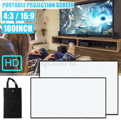 16:9/4:3 100inch Portable Foldable Projector Screen HD Home Theater Projection
