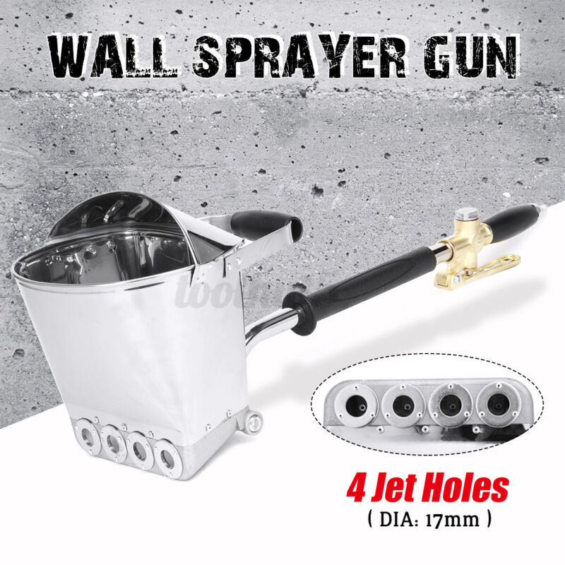 4 Jets Cement Mortar Concrete Air Stucco Sprayer Hopper Wall Plastering