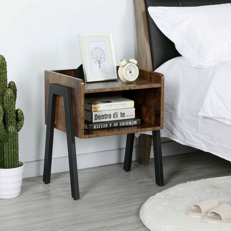 Set of 2 Stack able End Table Cabinet for Bedroom Storage Si