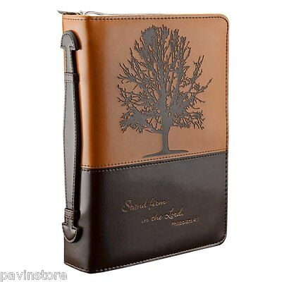 Christian Art Bible Cover Travel Case, Engraved Zipper Faux Leather, Large Brown