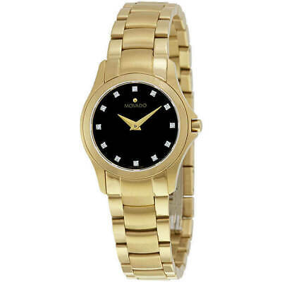 Movado Women's Watch Masion Diamond Black Dial Yellow Gold Bracelet 0607028