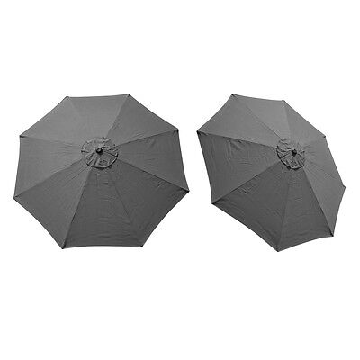 Replacement Cover Canopy 9 FT 8 Ribs Umbrella Grey Top Patio Market Outdoor