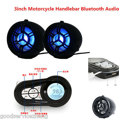 3Inch Motorcycle Handlebar Bluetooth Audio Amplifier Stereo Mp3 Speaker System