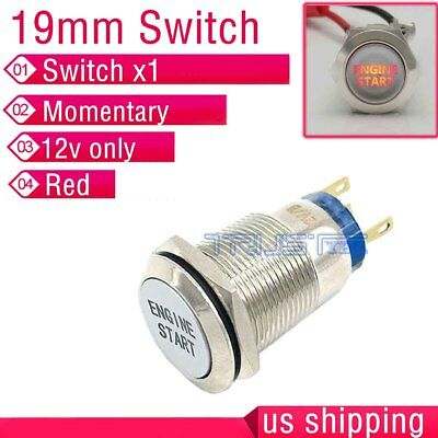 19mm Red Led Momentary Ignition Engine Start Metal Switch Push Button Lighted