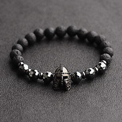 Fashion Men Women Natural Stone Black Helmet Bracelets Spartan Knight - Spartan Jewelry