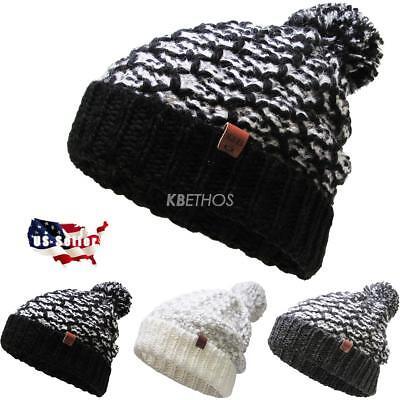 Winter Clearance Sale (CLEARANCE SALE!! Unisex Waffle Knit Pom Pom Beanie Winter Ski Hat Skull)