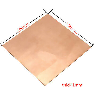 99.9 Pure Copper Cu Metal Sheet Plate 100x100x1mm For Handicraft Aerospace
