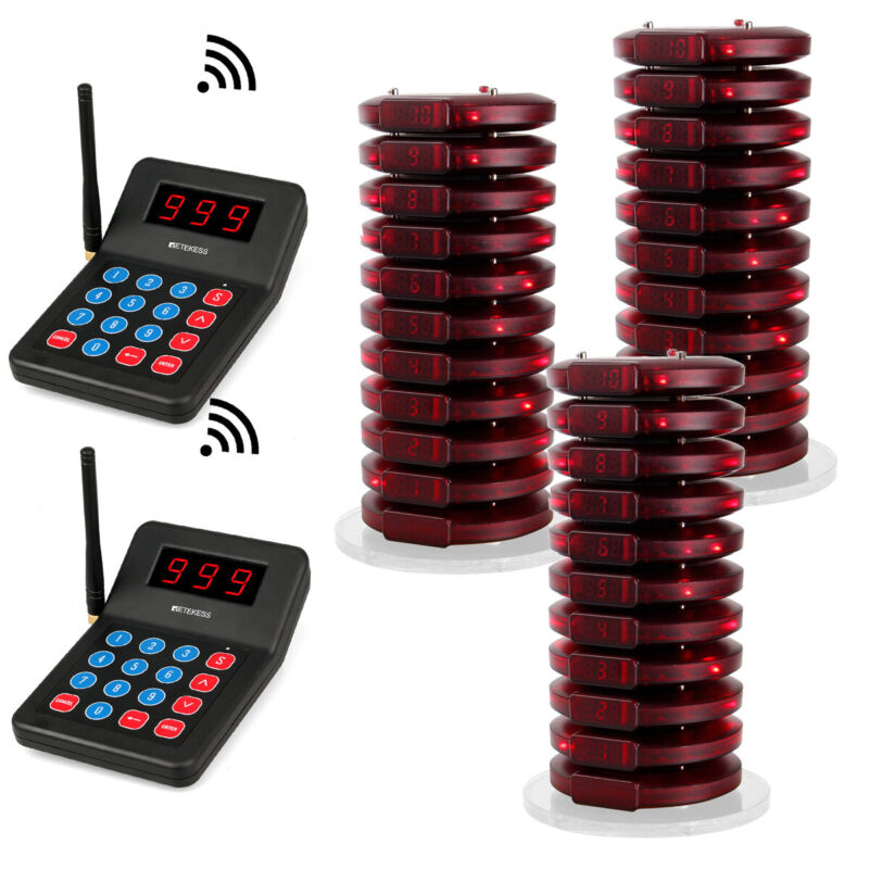 T119 Wireless Restaurant Paging System Queuing 30*Coaster Pager Cafe Food Truck