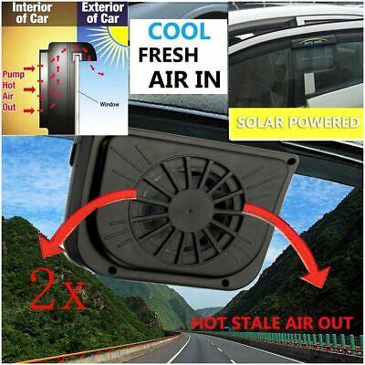 2X Solar Sun Powered Window Fan Ventilator Car Vehicle Auto