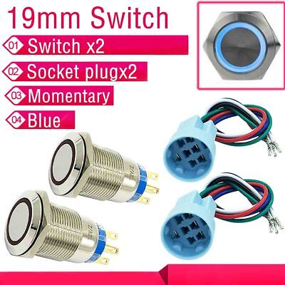 2X12V19mm Push Button Blue Angel Eye LED Momentary Waterproof Switch Socket plug