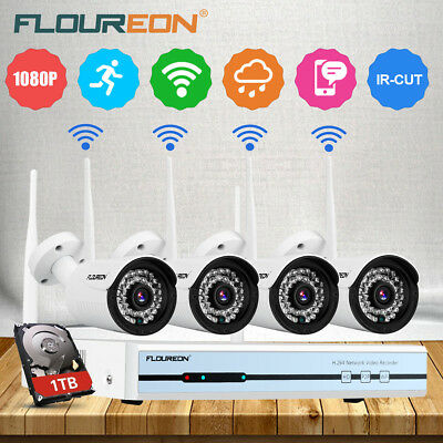 1TB Wireless Home Security System WIFI 4CH 720P CCTV IP Camera 1080P NVR Outdoor