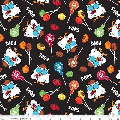 It's Tootsie Roll Time Fabric - Owl & Lollipop Toss Black - Riley Blake YARD (Tootsie Roll Costume Kids)