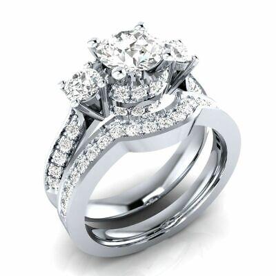 2.4carat unique bridal engagement ring set round cut diamond 14k white gold over