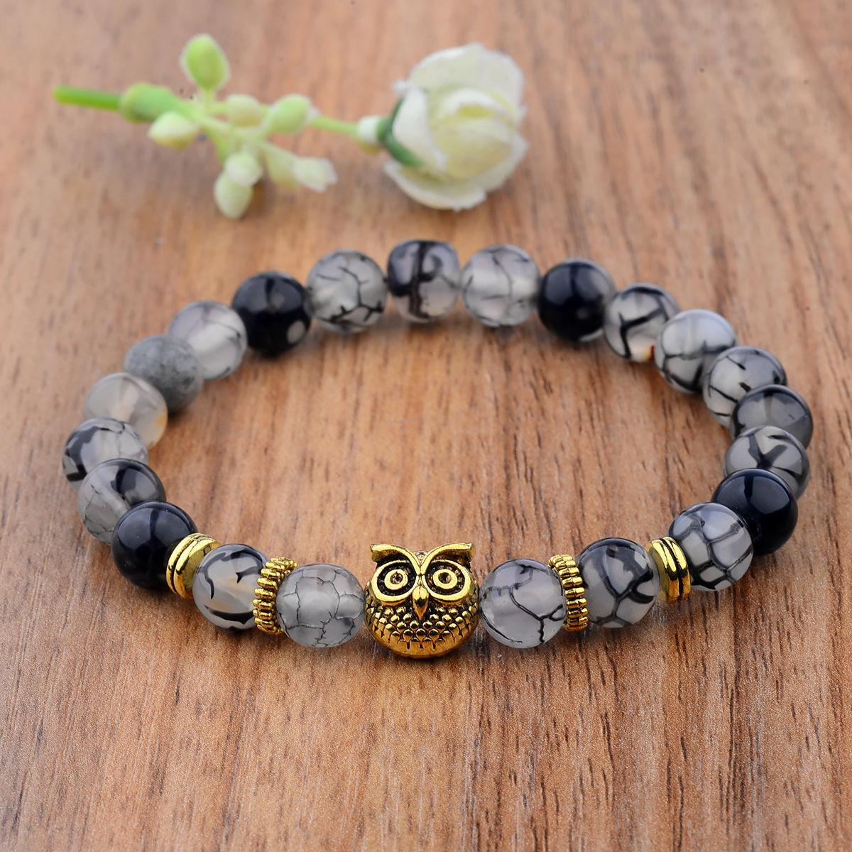 1Pcs Men Women 8MM Gemstone Beaded Braided Bracelets Charm Fashion Jewelry Gift 11