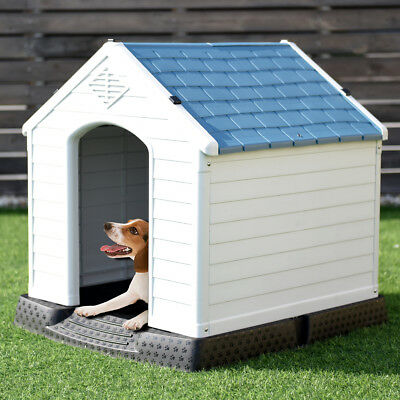 Plastic Dog House Pet Puppy Shelter Waterproof Indoor/Outdoor Ventilate Blue