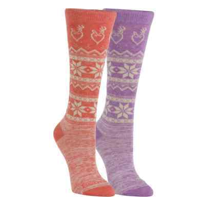 Browning Winter Lodge Women's MEDIUM Socks Shoe Size 6-10 CHOOSE PURPLE / ORANGE - Medium Winter Sock