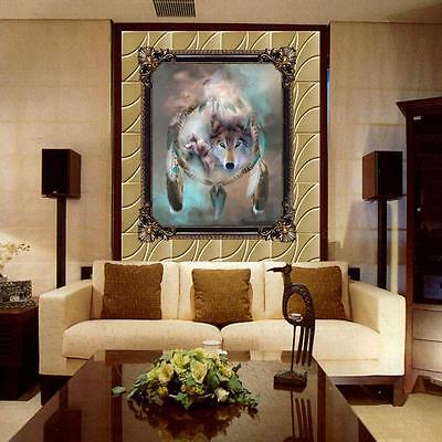 DIY 5D Diamond Wolf Totem Resin Embroidery Painting Cross Stitch Kit Home Decor