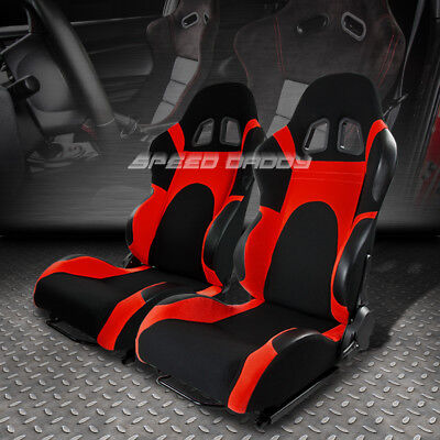 - 2 X UNIVERSAL LIGHTWEIGHT FULLY RECLINABLE RACING SEATS+SLIDERS TYPE-6 BLACK/RED