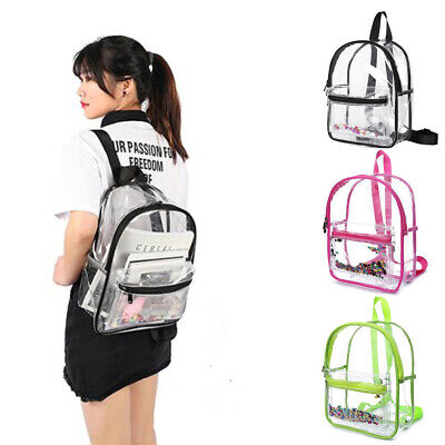 Large Clear Transparent Backpack Stadium Security School Book Bag Travel Fashion